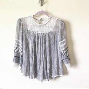 Floreat Lace Peasant Style Top Size M